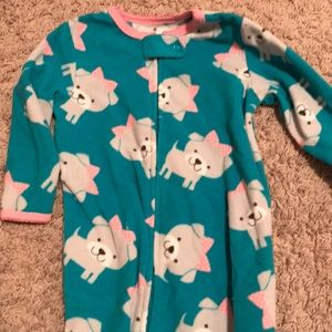 Fleece puppy footie pajamas